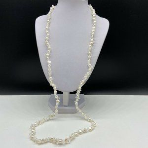 Genuine Freshwater Pearl Crystal Sterling Necklace